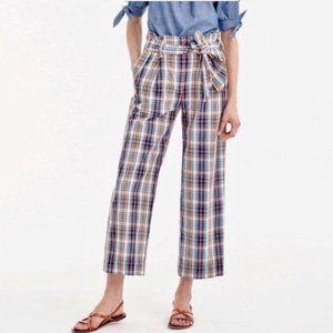 J. Crew Paperbag Tie Waist Plaid Pants Size 4